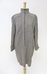 Valentino Vintage Missy Cream Houndstooth Long Sleeve Wool Dress