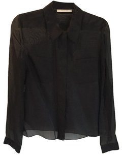 Valentino Sheer Button Down Top black