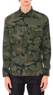Valentino Shirt Shirts Military Shirt Button Down Shirt Camo, Green Multi