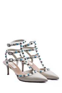 Valentino Studded Pump Sandal Leather Beige Pumps