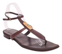 Valentino Garavani Flat Leather Thong Flip Flop Brown Sandals