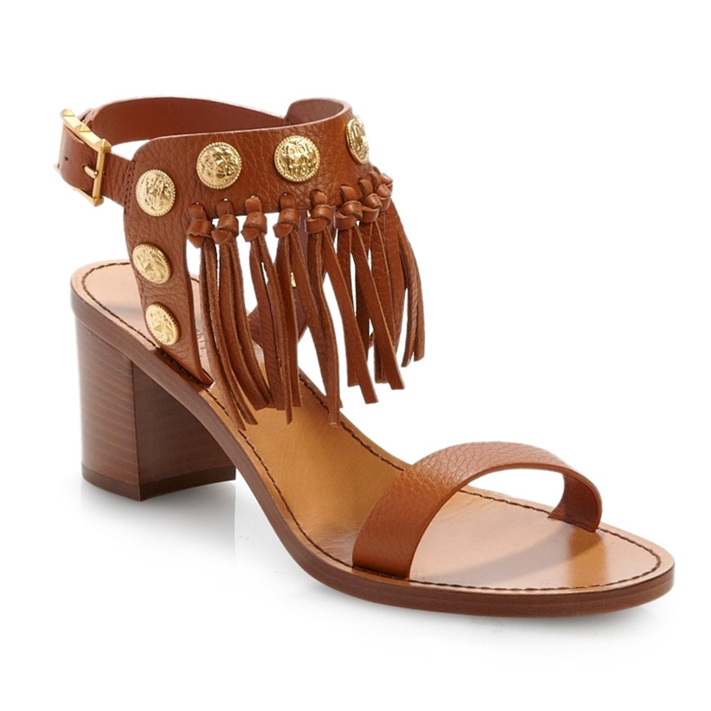 Valentino Tan C-rockee Studded Grained Leather Fringe Sandals Size EU 39.5 (Approx. US 9.5) Regular (M, B)