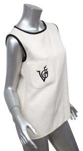 Valentino Boutique Womens Vintage Embroidered Monogram Top Ivory