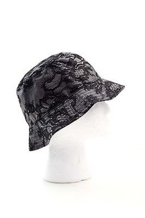 Valentino Valentino Garavani Black Gray Lace Applique Saks Rain Bucket Hat