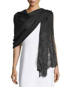 Valentino Valentino Golden Flower Lace Trim Black Silk Cashmere Fringe Wrap Scarf Shawl