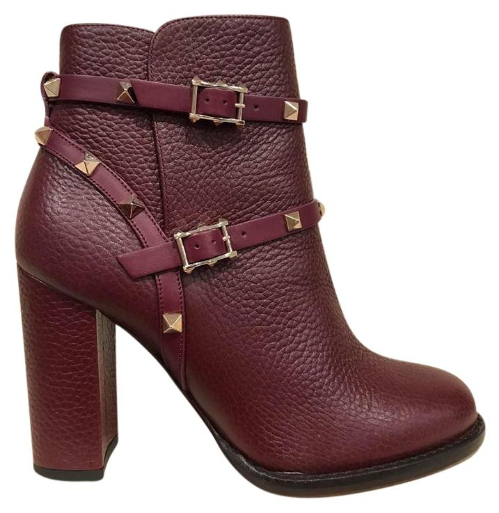 Valentino Wine Rockstud Leather Red Buckle Ankle City Block Heel Boots/Booties Size EU 38.5 (Approx. US 8.5) Regular (M, B)