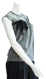 Valentino Women's Lace Mesh Cap Sleeve Top grey