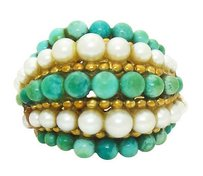 Van Cleef & Arpels Van Cleef Arpels 1960s Pearl Turquoise Beaded Dome 18k Gold Ring R434