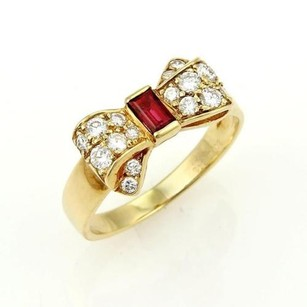 Van Cleef & Arpels Van Cleef Arpels Vca 18k Yellow Gold Diamonds Ruby Ribbon Bow Ring