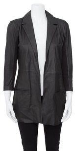 VEDA Thin Leather Ribbed Panel Open Front Pointed Collar Black Jacket