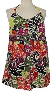 Venezia by Lane Bryant Womens Pink Floral Sleeveless 100 Cotton Halter Beaded Shirt Multi-Color Halter Top