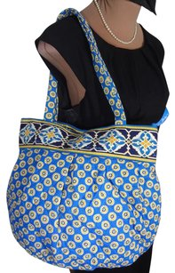 Vera Bradley Clean Retired Pattern Fast Shipping Tote in BLUE WITH YELLOW, RIVIERA PRINT