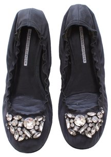 Vera Wang Lavender Label Leather Ballet Rhinestone Embellished BLACK Flats