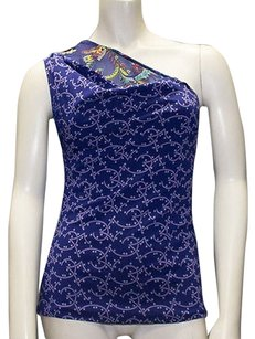 Versace Gianni Blue Silk Blend Printed One Top Multi-Color