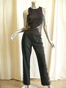 Versace Gianni Versace Vintage Silk Lace Tuxedo Stripe Top Blouse Pant Outfit Suit