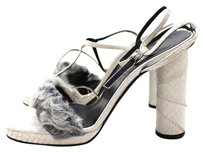 Versace Gianni Vintage Sandal High Heel Snakeskin Art Leather White Pumps