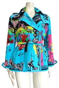 Versace Turquoise with multi-color print Jacket