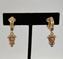 Versace Versace Gold Tone Medusa Theme Rhinestone Detail Clip On Earrings