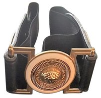 Versace VERSACE MENS BLACK AND GOLD BELT
