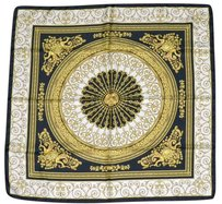 Versace VERSACE Venetian Baroque Scroll Black White Multi Twill Silk Scarf 36