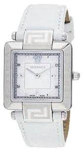 Versace Versace Womens Reve Carr Mother-Of-Pearl Diamond White Genuine Leather Watch