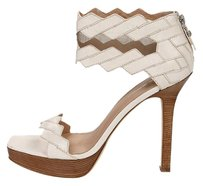 Via Spiga White Beige Cut-out Platform Cream Sandals