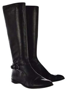 Via Spiga Womens Knee High 8m Leather Heels Casual Black Boots