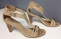 Via Spiga Embossed Leather T Strap Ankle Buckle Heels B3009 Beige Sandals