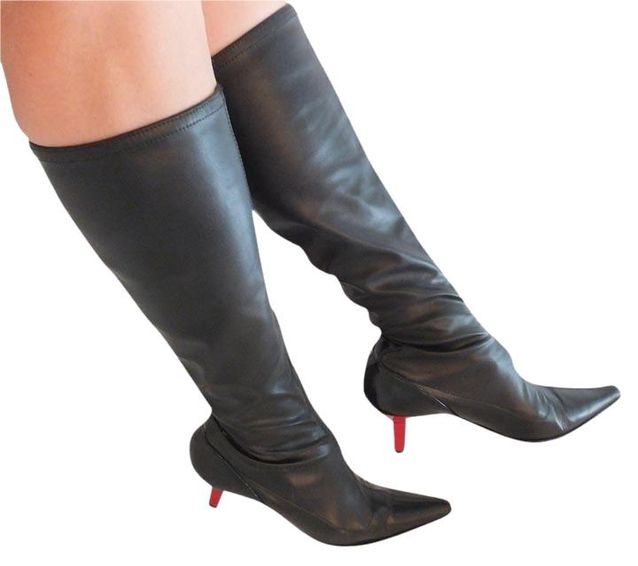 Vicini Red Kitten Heel Knee High Stretchy Leather Black Boots ...