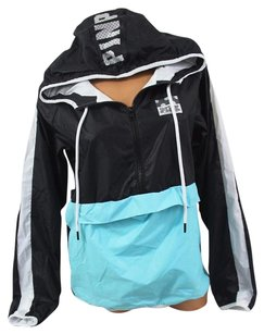 Victoria's Secret Pinksz Ml Anorak Windbreaker Jacket Blacksky Sweatshirt