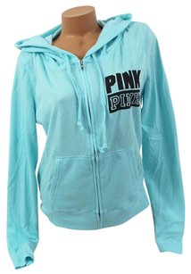 Victoria's Secret Pink Lperfect Zip Black Pink Block Sweatshirt
