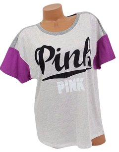 Victoria's Secret Pink Screw Script Pink Sleeves T Shirt Gray