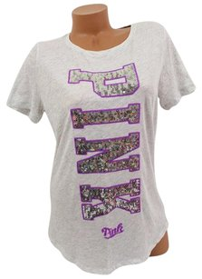 Victoria's Secret Pink Gray Silver Sequin Bling Outline T Shirt Purple