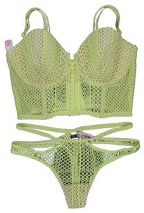 Victoria's Secret Very Sexy Lined Demi Fishnet Bustier Long Line Bra 36D Panty M