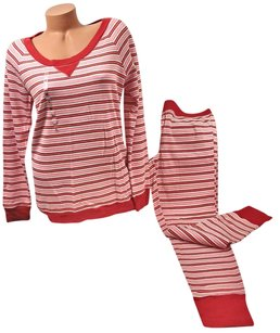 Victoria's Secret Victorias Secret The Fireside Long Jane Thermal Pajama Red Pink Stripe