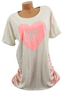 Victoria's Secret Victorias Secret Slove Heart Soft Sleep Tee Shirt Pajama Graypink Stripe