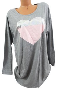 Victoria's Secret Victorias Secret Sangel Sleep Teelong-sleeve Gray Pink Foil Heart