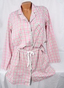 Victoria's Secret Victorias Secret Lmayfair Cotton Sleepshirtnight Gown Pajama Pj Pink Plaid