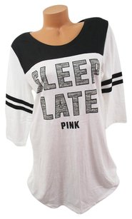 Victoria's Secret Victorias Secret Pink Lsleep Latepajama Sleep Shirt Blackwhite Marl Gray