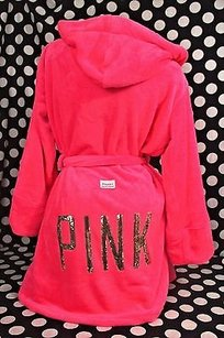 Victoria's Secret Victorias Secret Pinkxsshooded Cozy Spa Robe Luxe Plush Hot Pink Gold Bling