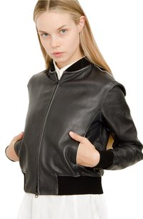 Vince Leather Rib Black Jacket
