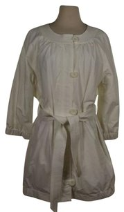 Vince Womens Solid Cotton Blend 34 Sleeve Ivory Jacket