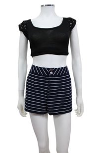 Vince Camuto Nautical Striped Woven Darted Shorts navy white