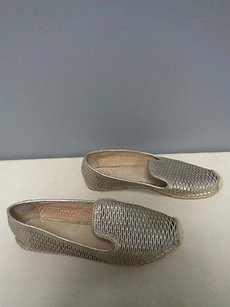Vince Camuto Leather Slip On Espadrille B3264 Silver Flats