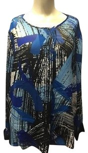 Vince Camuto Graphic Top Blue Black White