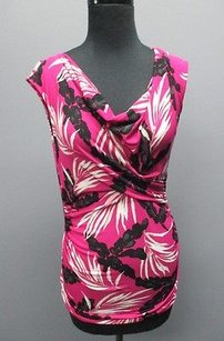 Vince Camuto Floral Print Poly Cap Sleeve 3163 Top Purple Black White