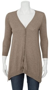 Vince Brown Knitted Cashmere Button Down Asymmetrical Cardigan Sweater