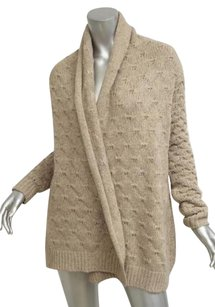 Vince Womens Biege Casual Knit Long Sleeve Cardigan Shirt Sweater
