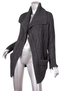 Vince Womens Charcoal Woolalpaca Cable Knit Cardigan Sweater