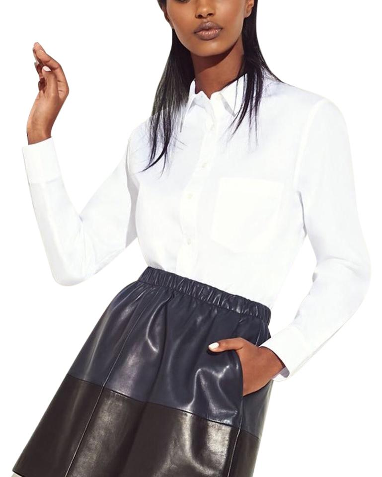 Vince color block lambskin skirt